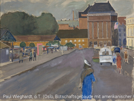 Paul Wieghardt, o.T. (Oslo, Botschaftsgebäude mit amerikanischer Flagge), 1936,  Galerie der Stadt Lüdenscheid, Paul Wieghardt Stiftung © Evanston Art Center, successor to the Estate of P. Wieghardt/VG Bild-Kunst, Bonn 2019